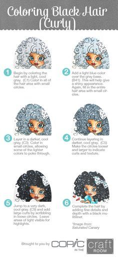 Brought to you by Copic in the Craft Room! How to Color Curly Black Hair… Copic Marker Art, Copic Pens, Copic Art, Copics, Colouring Pages, Coloring Books, Coloring Tips, Copic Markers Tutorial, Spectrum Noir Markers