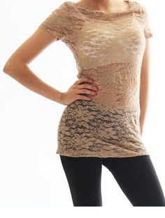 Taupe floral lace short sleeve. $11. www.sparckily.ca/#lehuasboutique