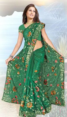 $73.98 Green Net Saree 20051 With Unstitched Blouse