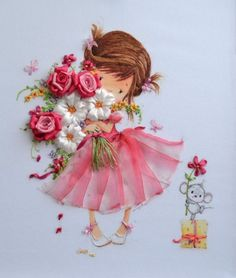 Wonderful Ribbon Embroidery Flowers by Hand Ideas. Enchanting Ribbon Embroidery Flowers by Hand Ideas. Silk Ribbon Embroidery, Embroidery Art, Embroidery Stitches, Embroidery Patterns, Machine Embroidery, Ribbon Art, Ribbon Crafts, Band Kunst, Fabric Flowers