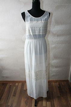 Weißes Kleid mit Spitze Bodenlang