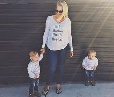 Wake, Mother, Hustle, Repeat White Long Sleeved Mom Shirt | Mommy Son Matching Tshirts, Mother Shirts, Hipster Baby, Living The Mom Life by LittleBeansCo on Etsy https://www.etsy.com/listing/249421743/wake-mother-hustle-repeat-white-long
