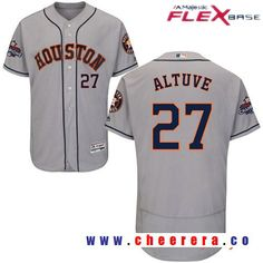 Men's Houston Astros #27 Jose Altuve Gray Road Majestic Flex Base Stitched 2017 World Series