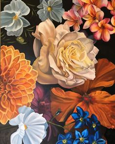 """Susan Ann O'Grady Firth on Instagram: """"Hello Spring 1st panel of triptych 2 by 1m Oil on canvas On exhibit at Hilton Arts Festival this weekend."""" Flower Collage, Hello Spring, Triptych, Art Festival, Exhibit, Oil On Canvas, Ann, Flowers, Painting"""