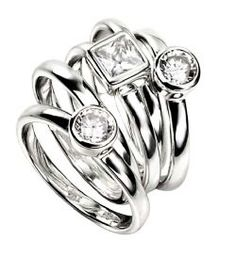 5 Band Ring with Square and Round Cubic Zirconia £89.99