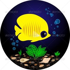 Tropical Yellow Fish is Swimming Under Water #GraphicRiver Vector file: EPS 10, RGB colors, items are grouped You can change colors, background and remove any item Also you can change the size of image JPG file: 4084×4084 px RGB, 300dpi Created: 22July13 GraphicsFilesIncluded: JPGImage #VectorEPS Layered: No MinimumAdobeCSVersion: CS Tags: animal #aquarium #black #blue #butterflyfish #cartoon #character #color #colorful #cute #design #drawing #fauna #fin #fish #funny #illustration #isolated…