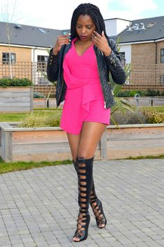 Ecstasy Models - Weekend Inspiration: Toughened Pink  Leather Jacket; Miss Kerre Fashions Kenya// Black Knee high Gladiators; Just Fab LDN // Pink Playsuit; Bank LDN // Turqoise Ring African Relics Kenya.  The Stylerprenuer