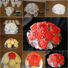 DIY Rose Flower Cupcake Bouquets Tutorials: Tips and ways to decorate cupcakes into flower ball bouquet, party cupcake serving ideas Cupcake Flower Pots, Cupcake Flower Bouquets, Diy Cupcake, Rose Cupcake, Cupcake Cakes, Cupcake Tutorial, Kid Cakes, Cupcakes Flores, Diy Rose