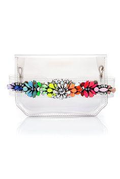 Transparent bag with jewel detail Clear Handbags, Transparent Bag, Bling Shoes, Studded Belt, Clear Bags, Designer Shoulder Bags, Vintage Bags, Clutch Purse, Swagg