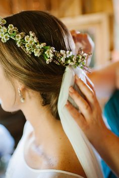 Simple white veil, crown with small white flowers, boho bridal hair // Cait Bourgault Photography
