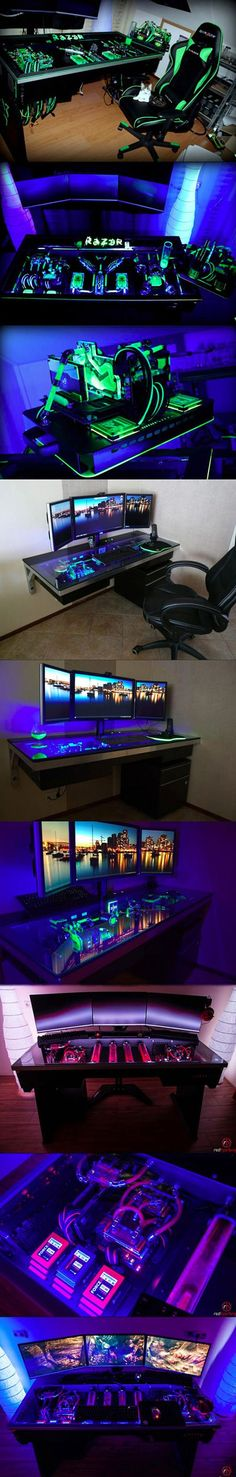 You can either buy a desktop computer, or have one built directly into a desk. You can either buy a desktop computer, or have one built directly into a desk. Pc Gaming Setup, Gaming Pcs, Pc Setup, Room Setup, Gaming Station, Computer Build, Computer Setup, Gaming Computer, Computer Security