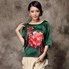 Resplendent Scoop Neck Silk Blouse - Dark Green - Chinese Shirts & Blouses - Women
