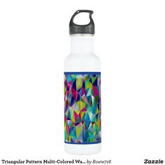 Triangular Pattern Multi-Colored Water Bottle