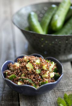 Cucumber Mint Quinoa Salad Recipe on SimplyRecipes.com So easy! With garden cucumbers and mint, and red quinoa. Vegan and gluten-free