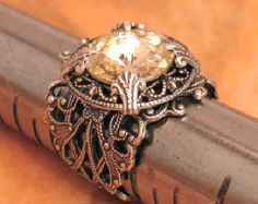 Stunning Vintage Garnet Dentelle Crystal and by LoreleiDesigns