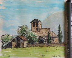 Allué. Iglesia románica de S. Juan Bautista. Pirineos de Huesca. Acuarela y rotulador
