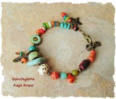 Boho Bracelet, Turquoise Jewelry, Boho Hippie, Rustic Earthy Tribal, Colorful…