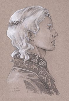 Famous Teleri: Olwë of Alqualondë by Jenny Dolfen.   King of the Teleri in Aman,  he was younger brother of Elwë, King of the Sindar. He may have had a second brother, Elmo. Together they led their people from Cuiviénen to the West:  However, during a long wait in Beleriand Elwë disappeared. After years of searching, Olwë grew impatient, and led the greater part of the Teleri to Aman, urged by Ulmo. Many of his people were slain when he refused to lend Feanor the swan ships to return to M-e.