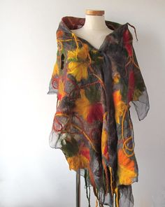 Nuno Felted scarf   Autumn leaf  yellow ginger green by galafilc, $129.00