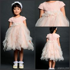 Wholesale Evening Dresses - Buy Lovely Jewel Short Sleeve Flower Girls Dresses Tiered Tulle Ball Gowns Girls Dresses In Party Birthday Lovely Girls Dress Short Sleeves, $96.0 | DHgate