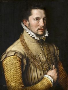 Portrait of a Man, Anthonis Mor van Dashorst, 1561 looks like a soft leather jerkin with pinking - inspiration pose Renaissance Portraits, Renaissance Paintings, Renaissance Men, Renaissance Clothing, Portrait Studio, Portrait Art, European Paintings, Old Paintings, Adel Verpflichtet