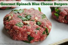 Freezer Meal - Gourmet Spinach Blue Cheese Burgers - One Hundred Dollars a Month