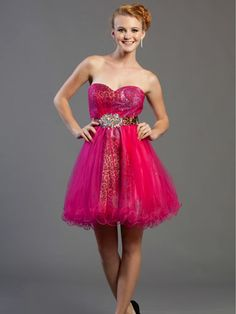 Pink and cheetah strapless dress #prom