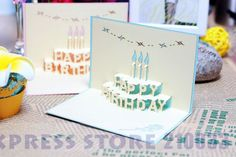 Baby Blue & Pink Handmade Kirigami & Origami Pop UP Birthday Card with Candle & Rose Design Best Gift for Your Dear Friends