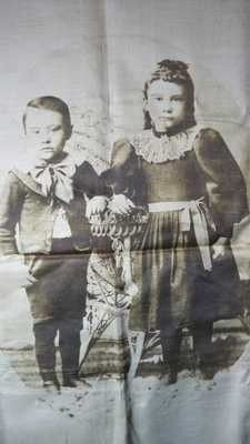 Rare Antique Early Photograph Of Children On Silk Victorian Silk Print Plus Box