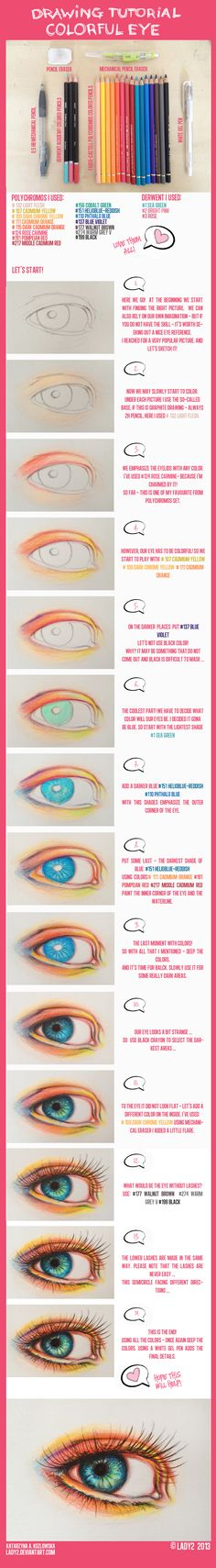 Delineate Your Lips colored_pencil_eye_tutorial. by - How to draw lips correctly? The first thing to keep in mind is the shape of your lips: if they are thin or thick and if you have the M (or heart) pronounced or barely suggested. Drawing Techniques, Drawing Tips, Painting & Drawing, Drawing Ideas, Sketch Drawing, Pencil Drawings, Art Drawings, Drawing Faces, Drawing Tutorials