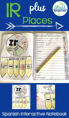 Spanish Interactive Notebook activities for the verb Ir and places in a town.