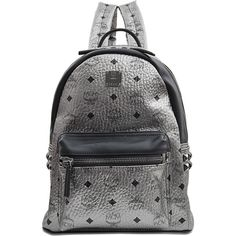 MCM Small Stark Backpack ($635) ❤ liked on Polyvore featuring bags, backpacks, black rucksack, fake leather backpack, black studded backpack, black leather knapsack and pocket backpack