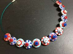 Button Necklace Spotted Wooden Choker  Nautical Jubilee  Red White Blue £12.50