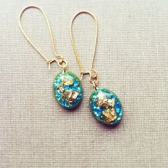 Blue Teal Olive Green and Gold Resin Earrings by lowelowejewelry, $18.00