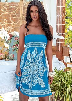 You'll be resort ready with this beauty. Venus bandeau dress.