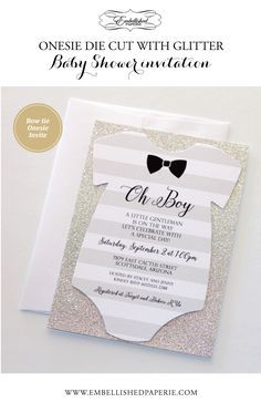Little Man Baby Shower Invitation - Bow tie Baby Shower Invitation - Grey and White striped Onesie Invitation printed on White metallic cardstock backed in Silver Glitter paper. Colors can be customized. Perfect for a Bow tie themed Baby Shower or a Little Gentleman Baby Shower. http://www.embellishedpaperie.com