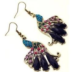 allthingspeacock.com - Peacock Earrings made from pretty crystals