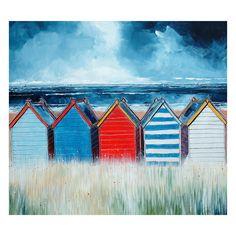 'Beach Huts I' Painting Print East Urban Home Format: Canvas, Mount Colour: No Mount Beach Huts Art, Beach Art, Beach Canvas, Sea Turtle Painting, Framed Artwork, Wall Art, Parasols, Painting Prints, Beach Paintings