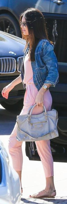 Who made  Kendall Jenner�s pink jumpsuit, tan handbag, and clear spike sandals that she wore in Malibu
