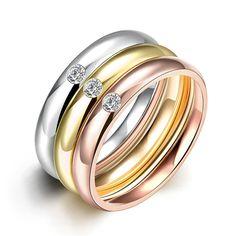 2016 Горячая нержавеющей стали 316L позолоченные 3 кругов обручальное кольца с AAA циркон для женщин ювелирные изделия Высокого Качества R035
