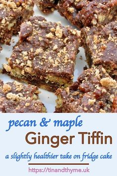 Pecan and Maple Ginger Tiffin - a slightly healthier take on fridge cake or biscuit cake as it's sometimes known. Vegan Dessert Recipes, Easy Desserts, Baking Recipes, Delicious Desserts, Snack Recipes, Blender Recipes, Bar Recipes, Clean Recipes, Homemade Chocolate