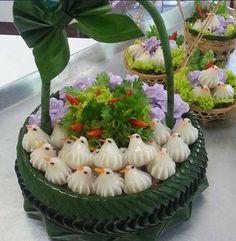 อาหารไทย - {Chor-Moung (violet) & Jeeb-Nok (white)} Thai Highclass Snack .