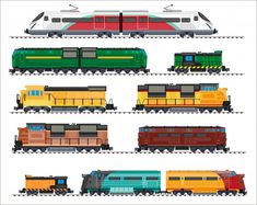 Set Of Modern Railway Transport: Locomotives, Speed Passengers Trains, Wagons. Railroad Transportation And Cargo Carriage Coal. Logistics Industry Vector Illustration In Flat Style, Isolated On White - 539470438 : Shutterstock Train Illustration, Architecture Collage, Steam Locomotive, Pictures To Draw, Transportation, Flat Style, Vector Freepik, Board Games, Adobe
