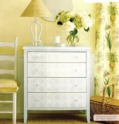 How cool is this idea to wallpaper the drawers of a dresser with a little decoupage ?