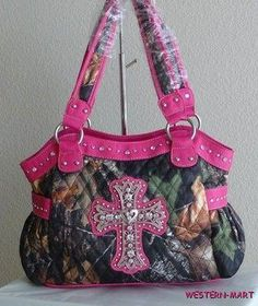 pink mossy oak camo quilt patterns | New Western Hot Pink Camo Mossy Oak Bling Cross Cowgirl Tote Shopper ...