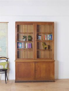 Large 20th Century Oak Vintage School Bookcase With Cupboard In Antiques, Antique  Furniture, Bookcases