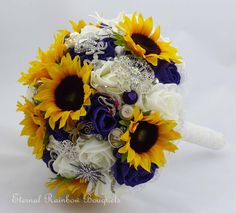 Sunflower and rose brooch bouquet with sentimental jewellery from the Bride