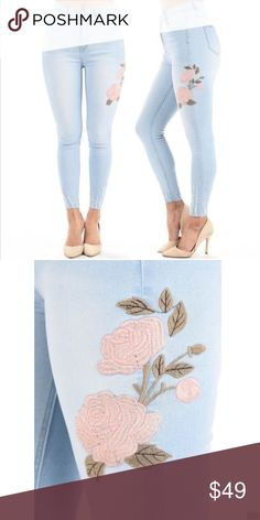 PRE-ORDER Plus High Waist Embroidered Jeans Arriving soon!! Gorgeous light denim high waisted stretch skinny jeans with pink embroidered flower detail at the side thigh. Size 16 is 1X, Size 18 2X & Size 20 3X.     97% Cotton & 3% Spandex  Firm price - we do offer bundle discounts. Jeans Skinny