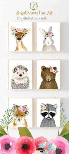 Flower Crown Baby Forest Friends Print Set This animal art prints collection features a set of 6 prints from my original flower crowned animals wall art. The collection includes portraits of a hedgehog, deer, fox, raccoon, bear, and rabbit. If, however, youd like to swap any of them for