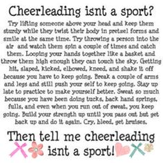 after all that I've been through cheering in college, I would no longer hesitate to say this IS a sport. It's insane what we have to endure.
